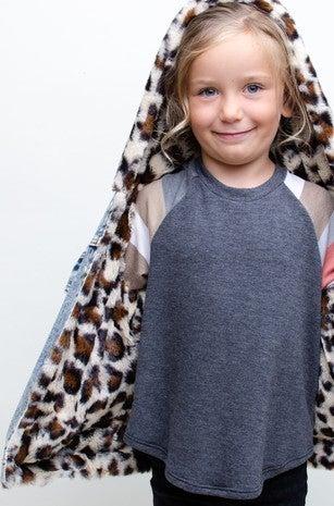 12pm by Mon Ami - Kids Denim Leopard Fur Jacket