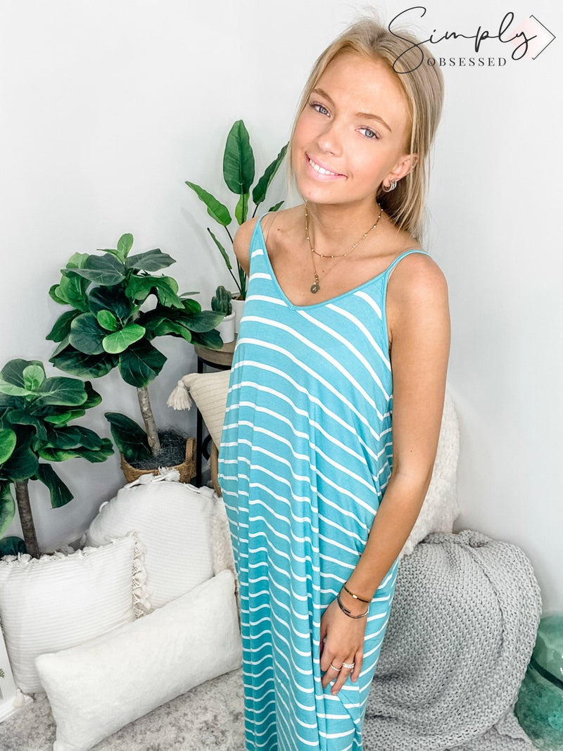 Stripe cami maxi dress with pockets
