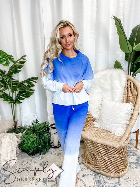 French terry dip dye lounge set with long sleeve top and drawstring detail pants(All Sizes)