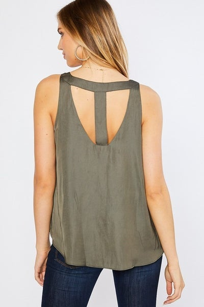 Mittoshop - Satin V Neck w/ Cut Out Back Detail Tank Top