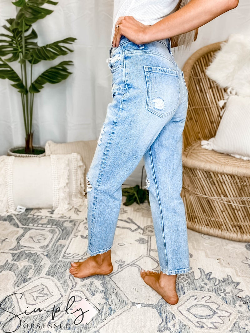 Vervet - Super high rise button up straight distressed jeans