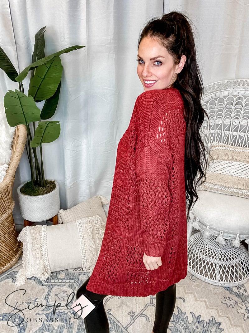 Blue B - Oversize Soft Comfy Mesh Knit Cardigan
