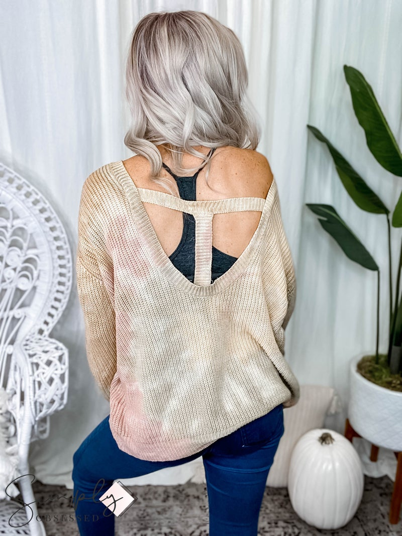 Main Strip - Round neck back cut out oversize fit tie dye sweater
