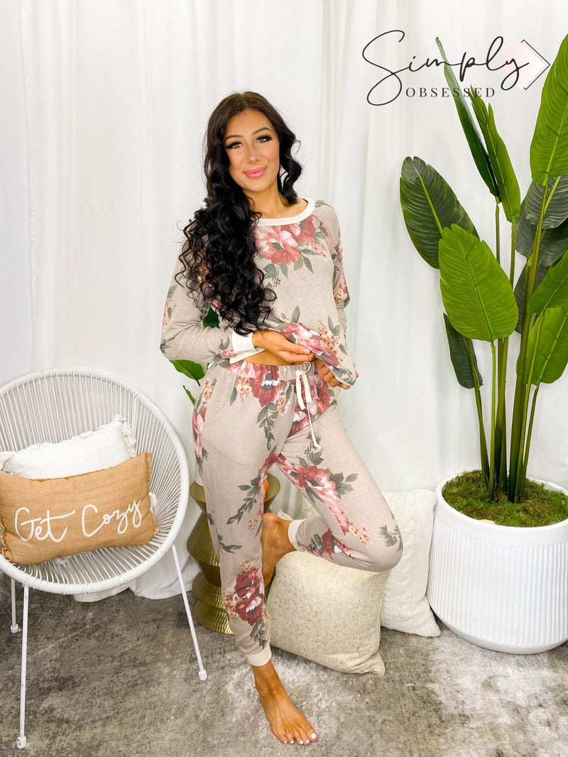 Honeyme - Floral print knit joggers(All Sizes)