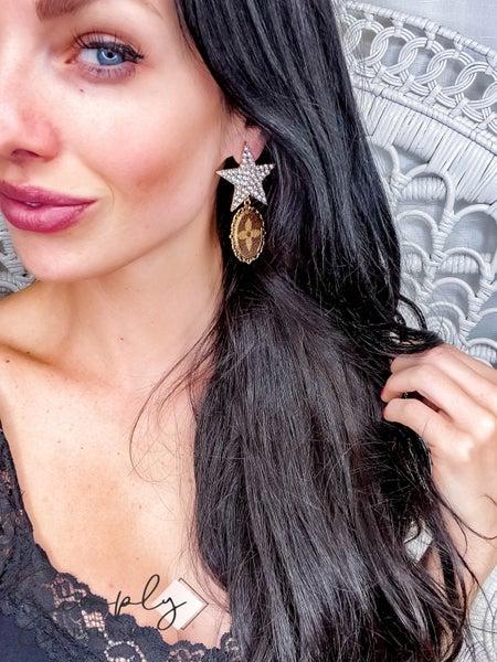 Up Cycled - Rhinestone Star Earrings