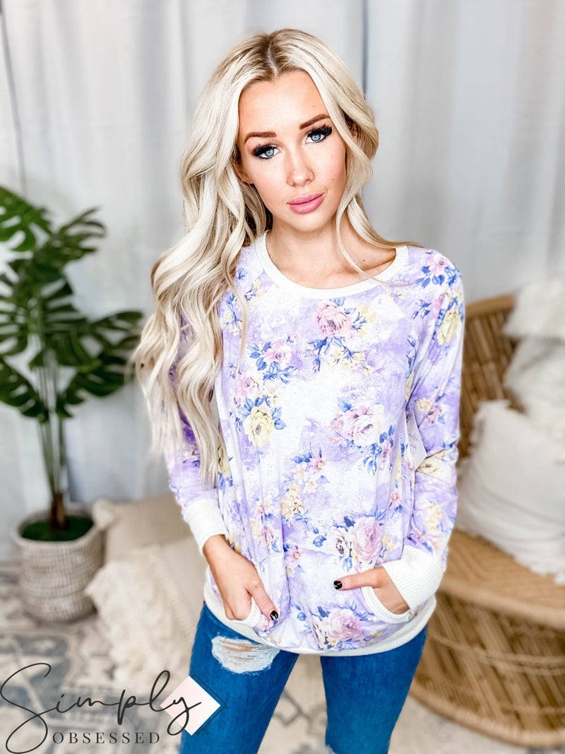 Hailey & Co - Floral print ribbed detail knit top