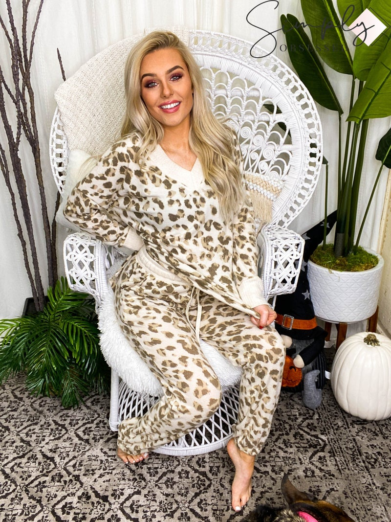White Birch - Cheetah print knit 2 piece set(All Sizes)