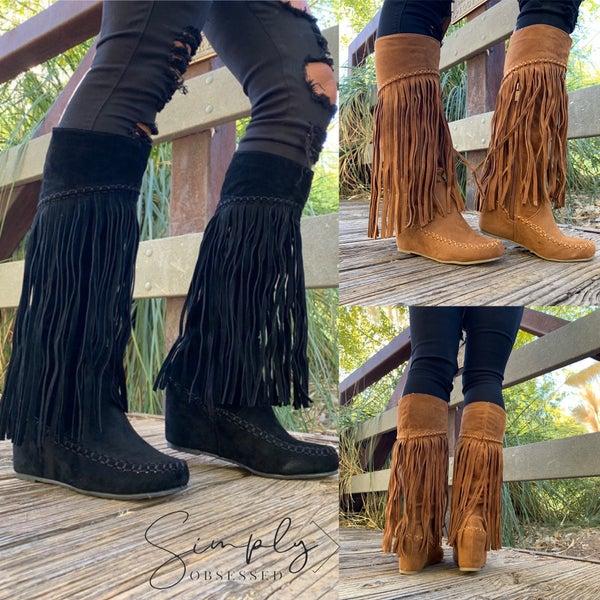 Nature Breeze - Suede fringe long boots