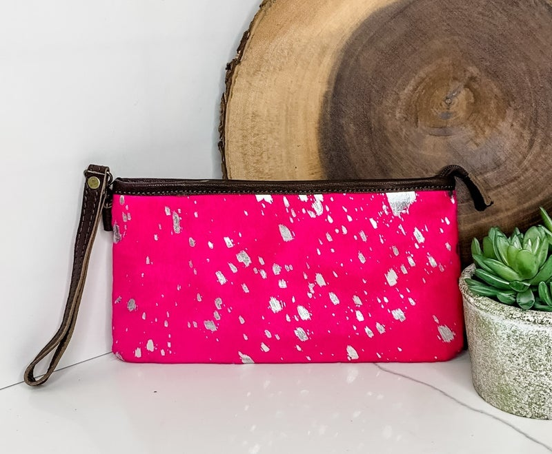 AMERICAN DARLING-Small handbag with pink cowhide and leather