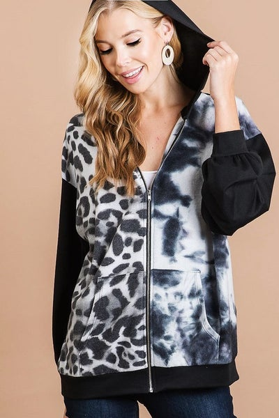 Bibi - French terry zip up jacket with print block front