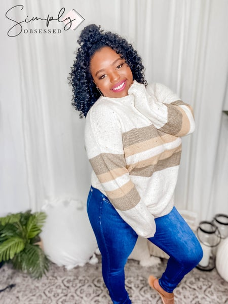 Sew In Love - Long Sleeve Round Neck Striped Sweater Top