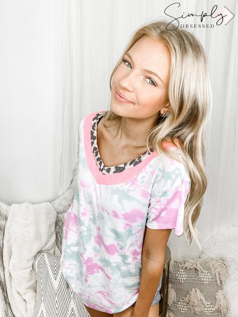 HONEYME-Tie Dye V-Neck With Leopard Print