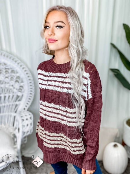 Listicle - Cable knit pullover sweater with popcorn stripes contrast