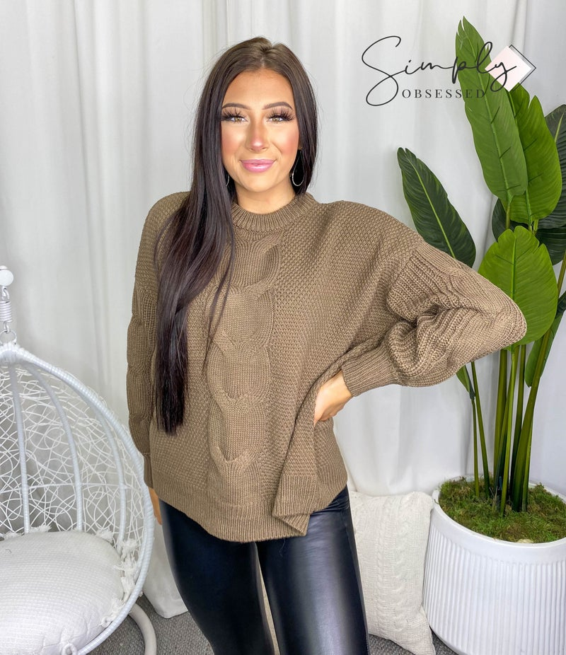 Cable Knit Balloon Sweater