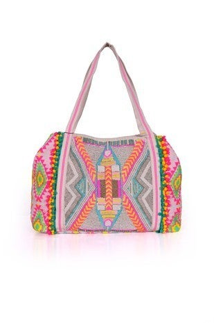 AMERICA & BEYOND-Multi Purpose Tote With Embellished Front And Pom Pom Lace Detail