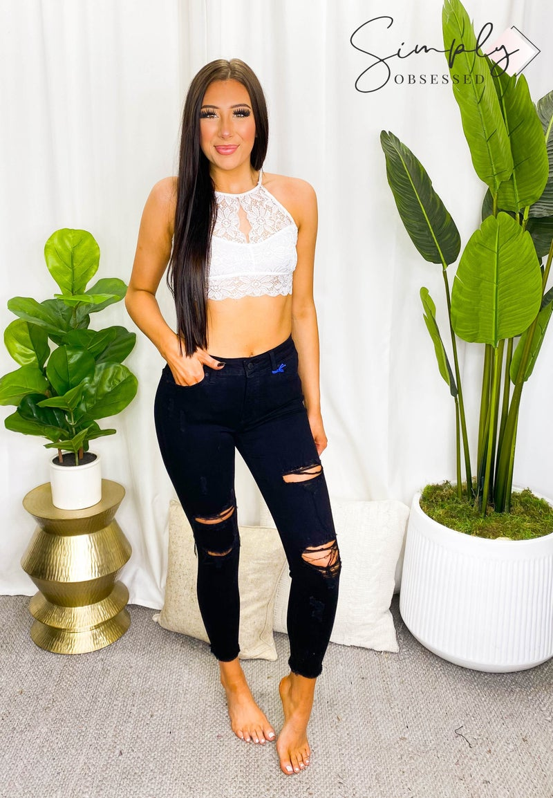 EUNINA- high rise skinny crop with destroyed denim