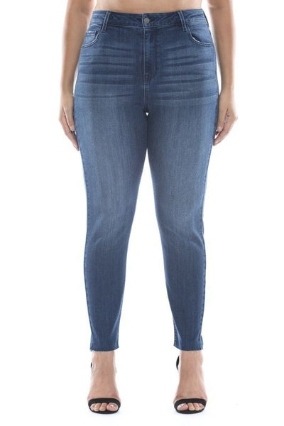 Cello Jeans - High rise straight cut ankle skinny jeans (plus size)