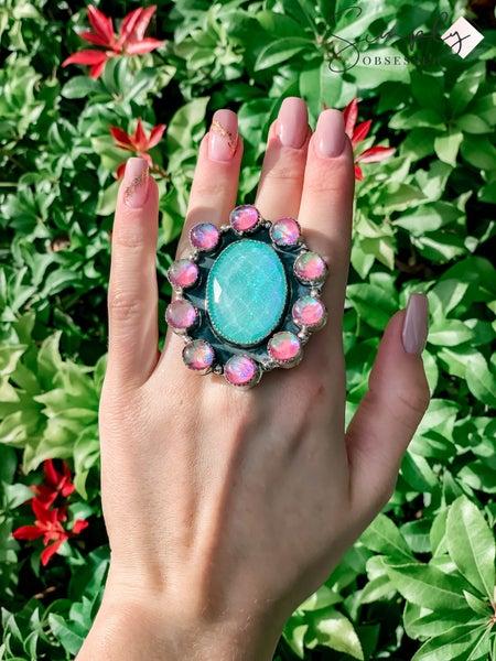 M & S - Iridzed Opal w/ Cluster Ring