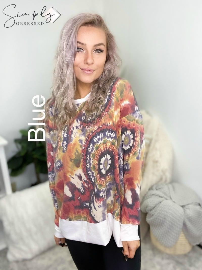 White Birch - Long sleeve tie dye top w/ solid trim
