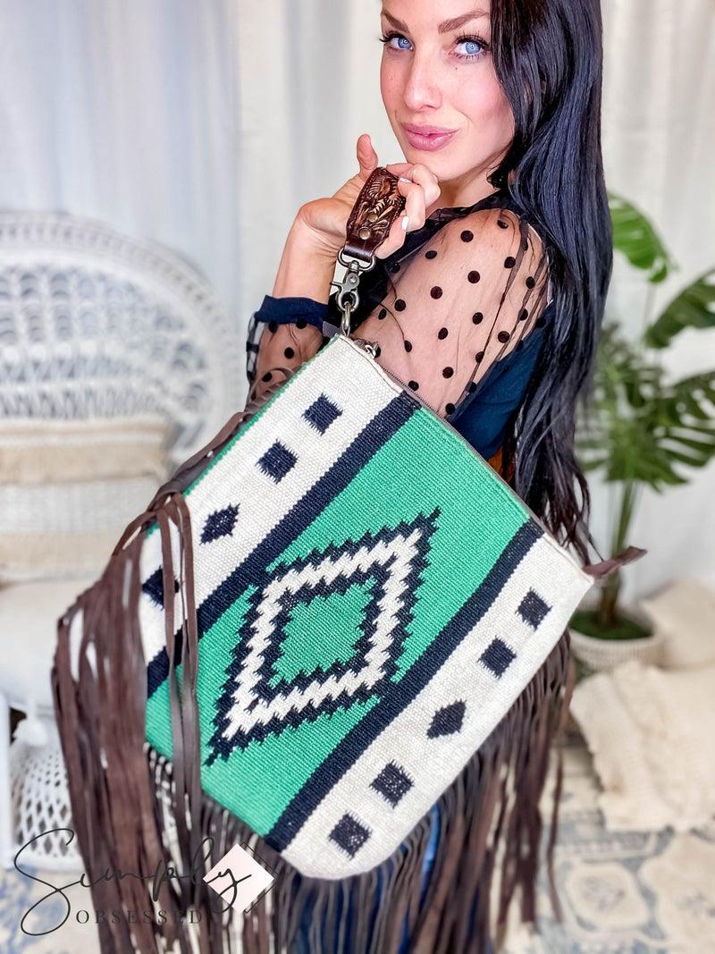 American Darling - Aztec Rugged Leather Crossbody Bag W/Fringe & Flap