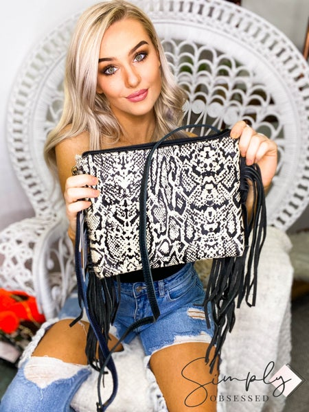 American Darling - Tassel detail snake print cross body bag