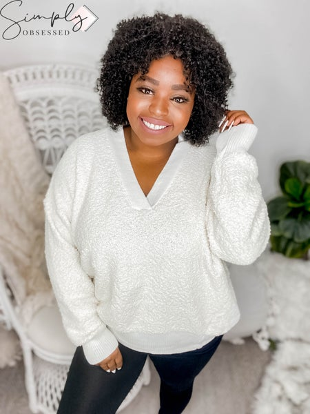 White Birch - Long sleeve solid knit sweater(All Sizes)
