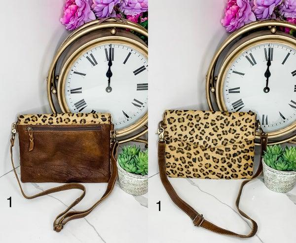 AMERICAN DARLING- Medium cheetah print handbag with leather