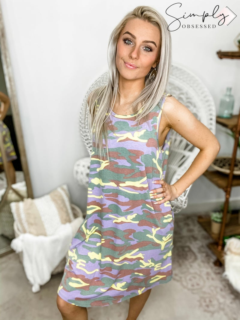 HONEY ME-Camo Tank Dress