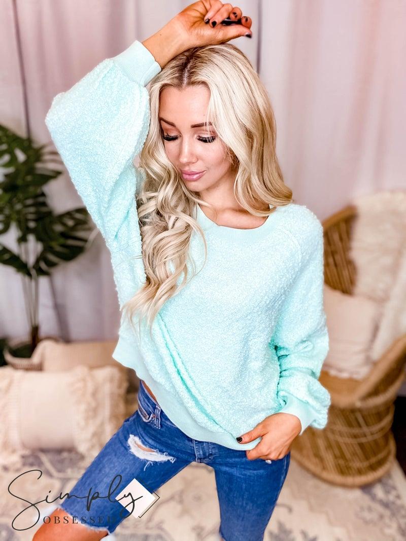 Peach Love California - Long Sleeve Textured Boucle Knit Sweater