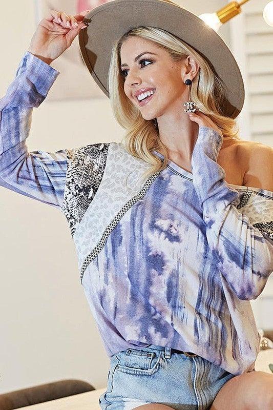 Bibi - Tie dye print knit top