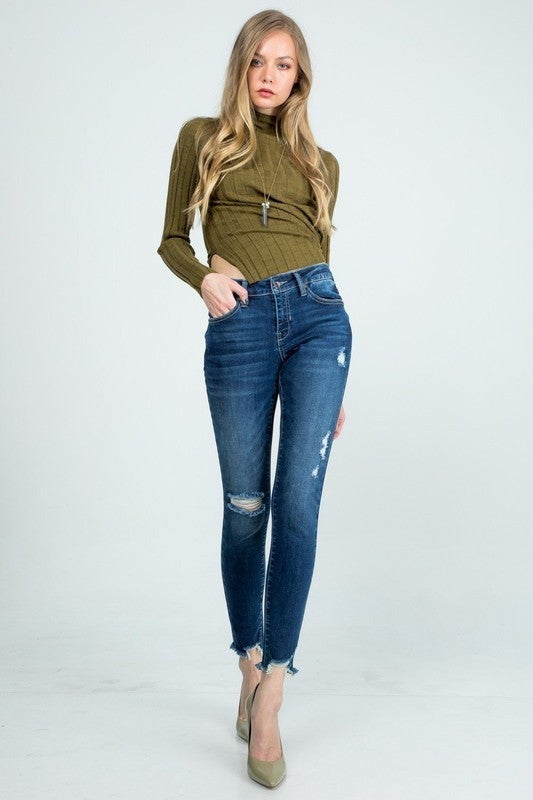 Special A - Distressed mid rise skinny jeans