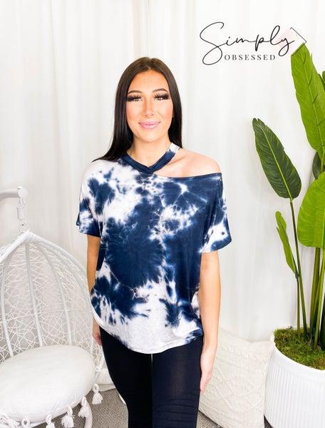 Vine & Love - Short sleeve shoulder cut off tie dye knit top