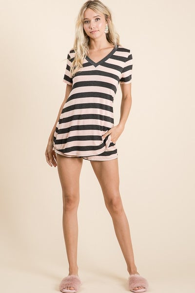Vanilla Bay - Stripe print short sleeve v neck knit top and shorts loungewear set
