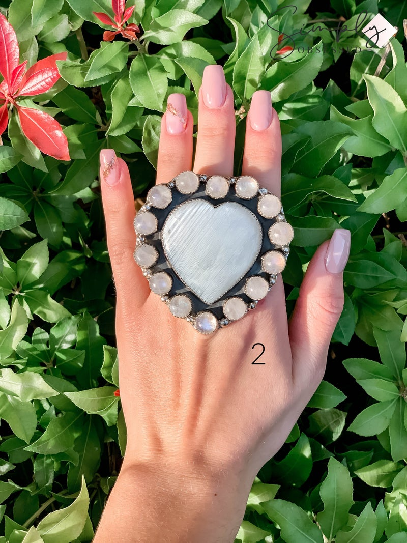M & S - Moon Heart w/ Moonstone Cluster Ring