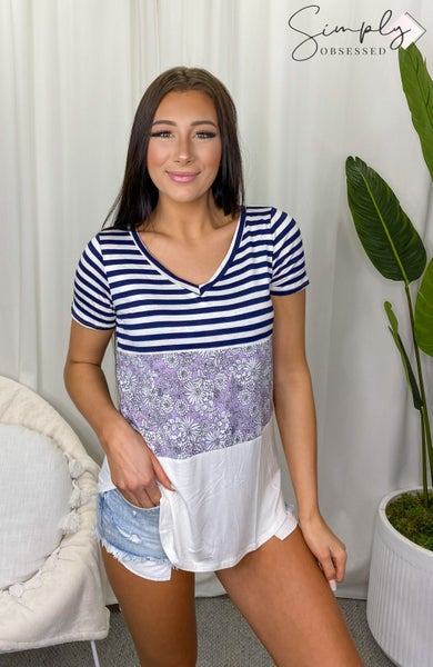 SEW IN LOVE-Floral And Striped V-Neck Shirt