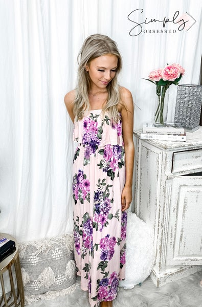 URBAN CHIC-RUFFLE LAYERED TUBETOP FLORAL MAXI DRESS WITH POCKET