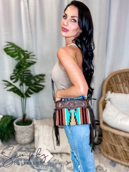 American Darling - Hand Carved Aztec Small Crossbody Clutch w/Fringe Detail