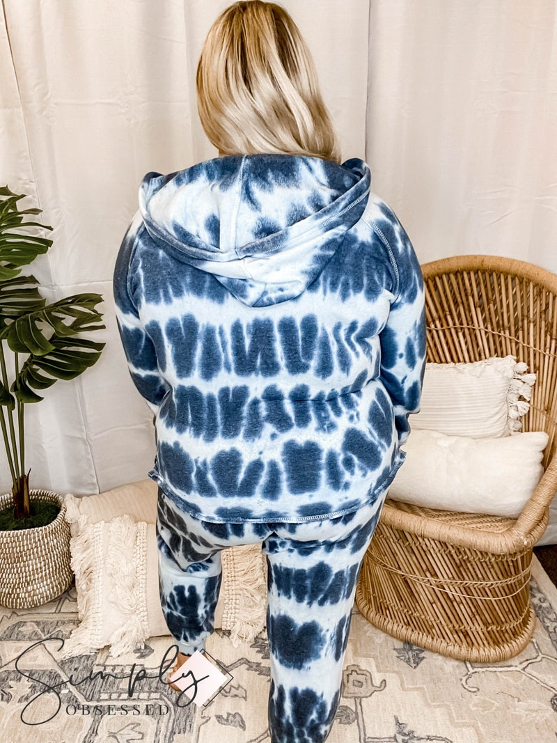 Sew In Love - Tie Dye Hoodie with Frayed Seams and Drawstring Pants Set