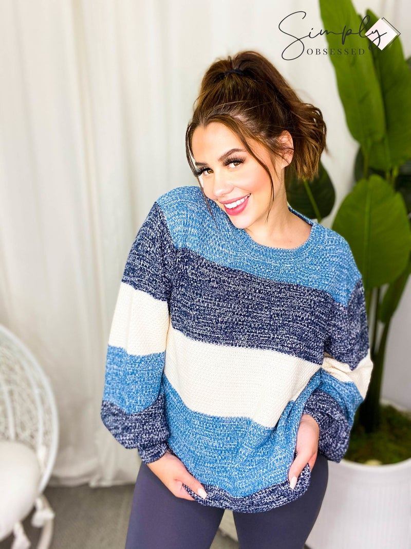 Round neck long sleeve color block  knit sweater