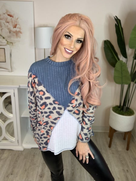Fantastic Fawn - Long sleeve color blocked contrast leopard top