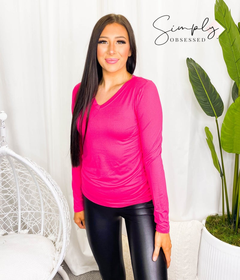 Brushed microfiber long sleeve v neck top(All Sizes)