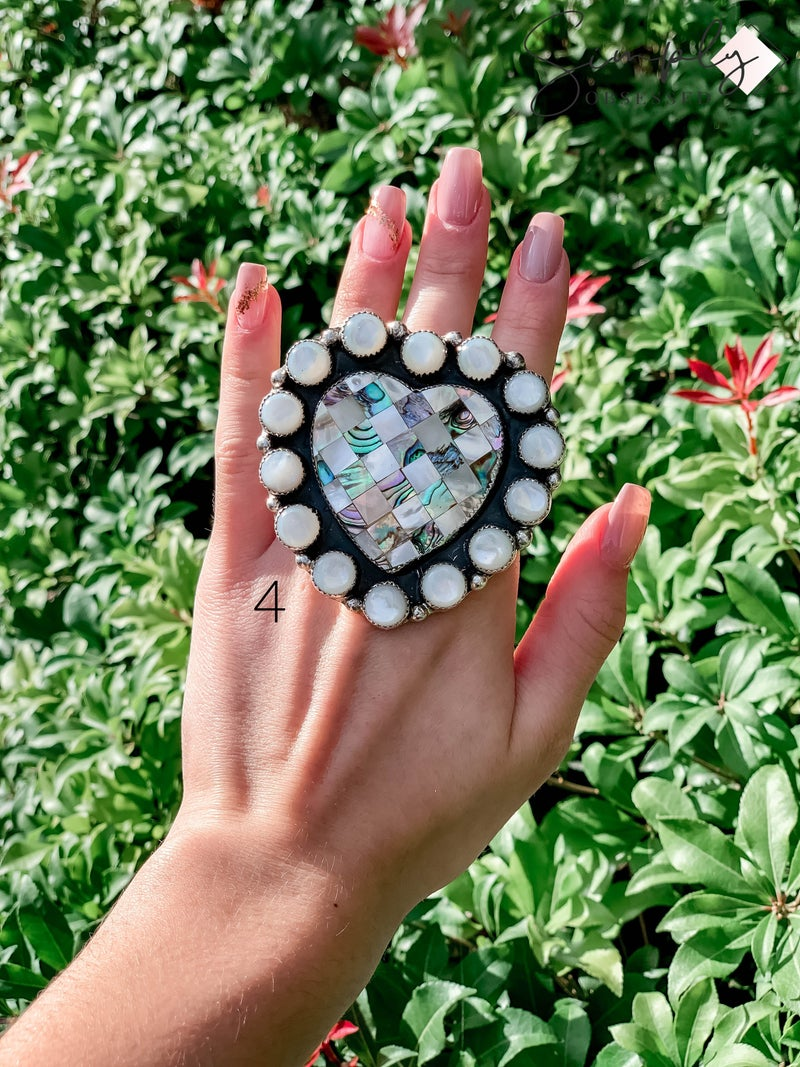 M & S - Abalone Mother of Pearl Heart Ring