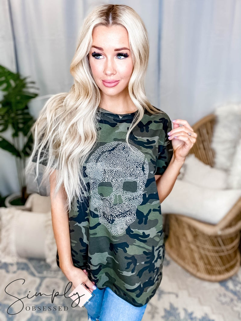 Blue Buttercup - Camo print with stud skull detail top