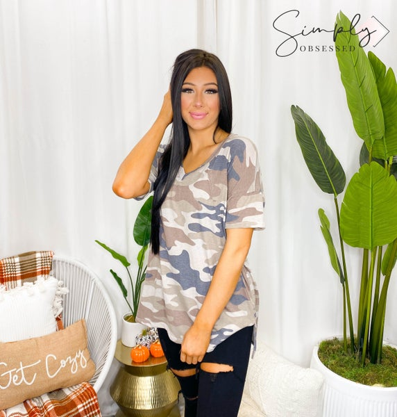 Sew In Love - Short sleeve flowy camo print v-neck top (all sizes)