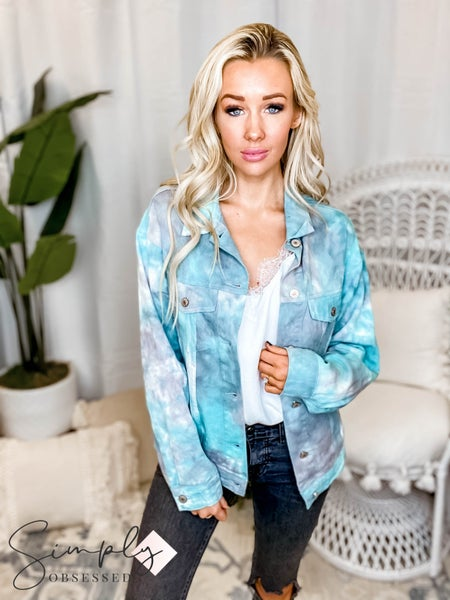 Oddi - Tie dye denim collared button down jacket with front pockets(All Sizes)