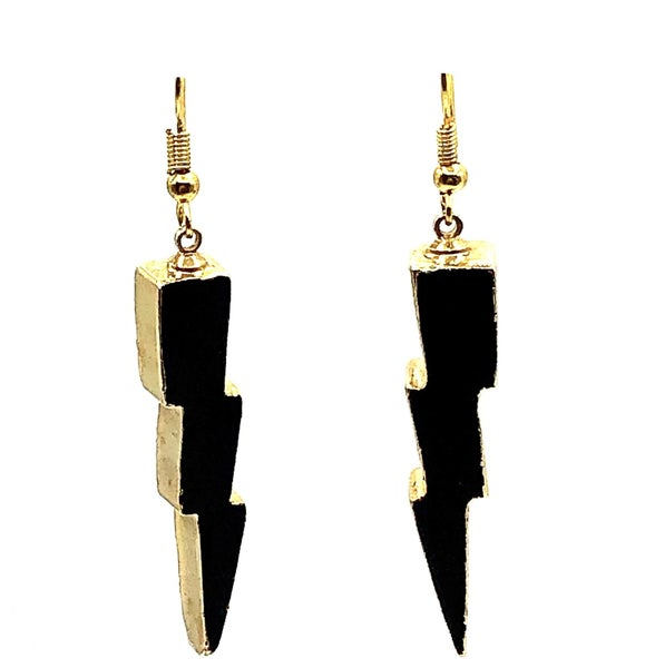 Black + Gold Lightning Earrings