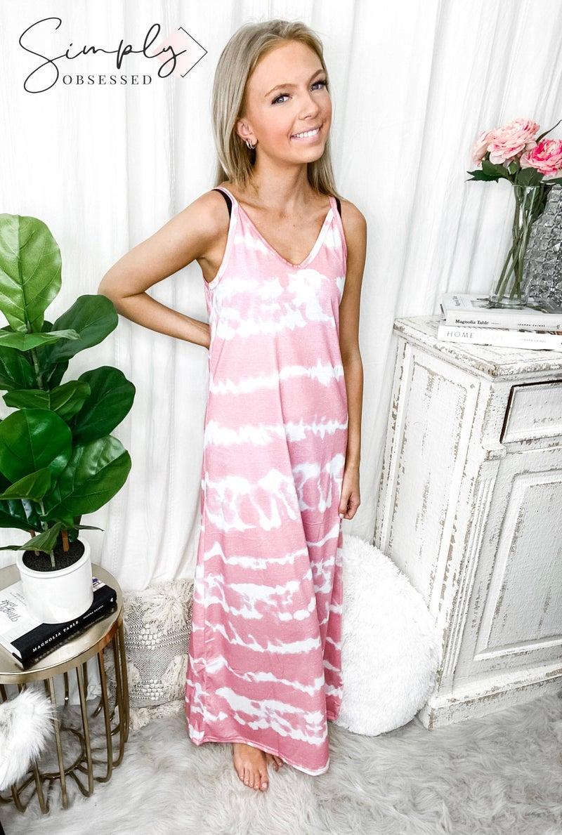 Hey Samy - Tie Dye Printed Spaghetti Straps Maxi Dress