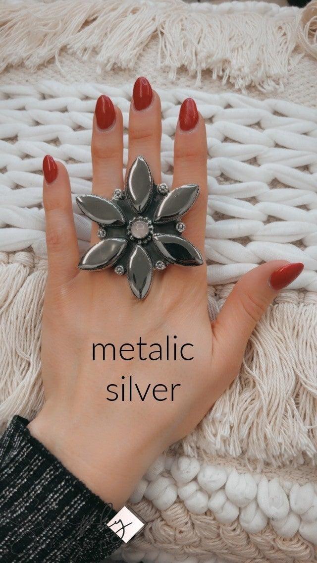 M&S Ceramic w/rose quartz Flower Ring