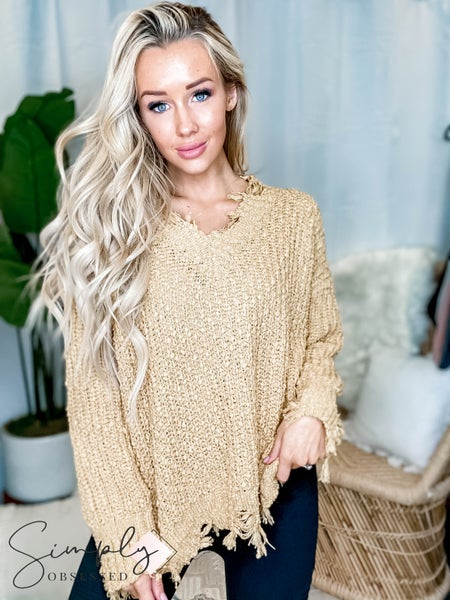 Wishlist- Knit sweater with torn detail