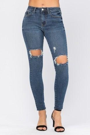 Judy Blue - Destroyed Knee High Waist Skinny Jeans